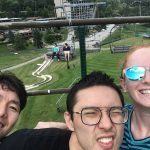 Riding the ski lift to the top of the mountain to take the alpine slide. Left to right foreground: Hyunggwi, Chenxi, and Sara. Background: Prof. Dunn and Prof. Kersh.
